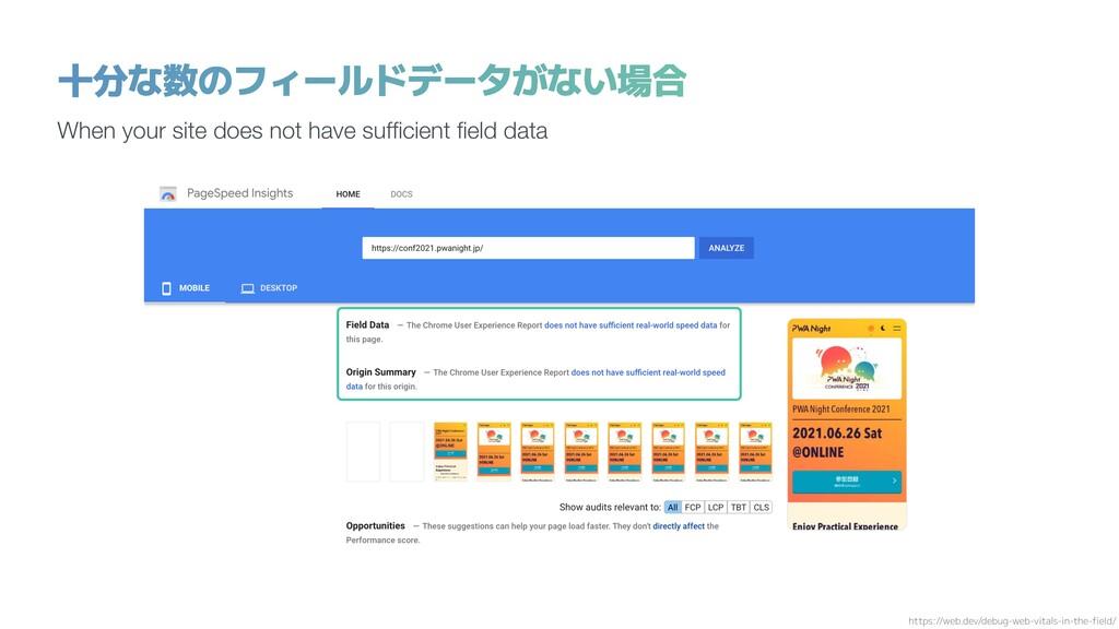 十分な数のフィールドデータがない場合 When your site does not have...