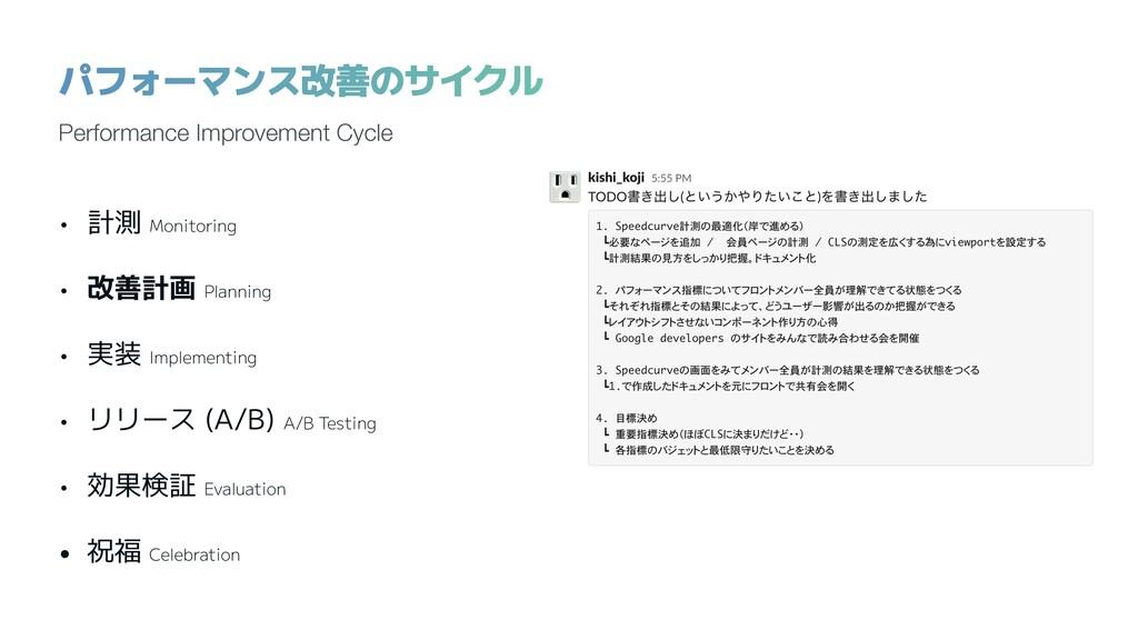 • 計測 Monitoring • 改善計画 Planning • 実装 Implementi...