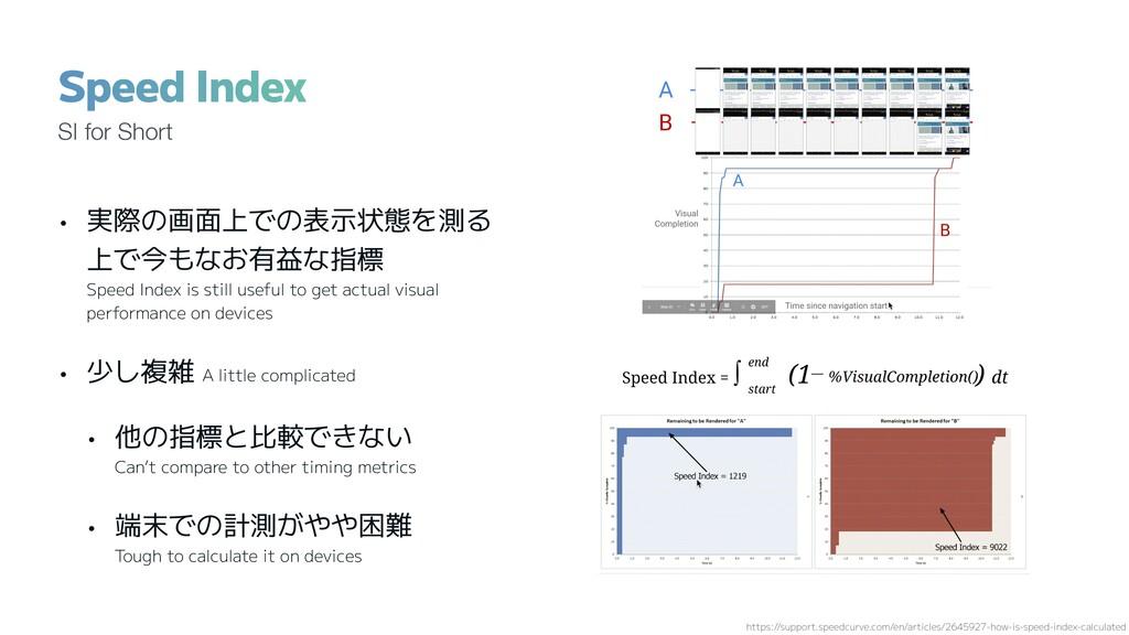 • 実際の画面上での表示状態を測る 上で今もなお有益な指標 Speed Index is st...