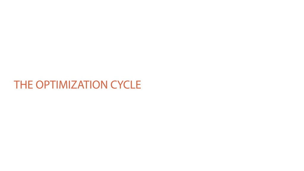 THE OPTIMIZATION CYCLE