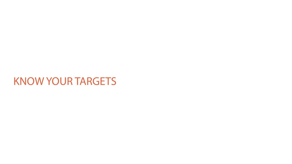 KNOW YOUR TARGETS