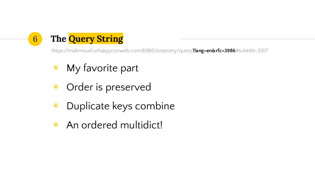 The Query String 6 https://mahmoud:urls@pyconwe...