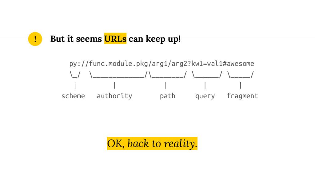 But it seems URLs can keep up! ! py://func.modu...
