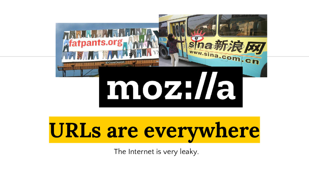 URLs are everywhere The Internet is very leaky.