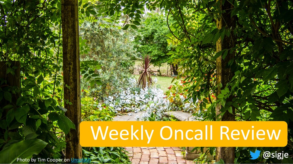 Weekly Oncall Review Photo by Tim Cooper on Uns...