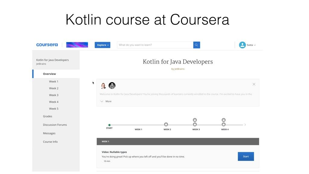Kotlin course at Coursera