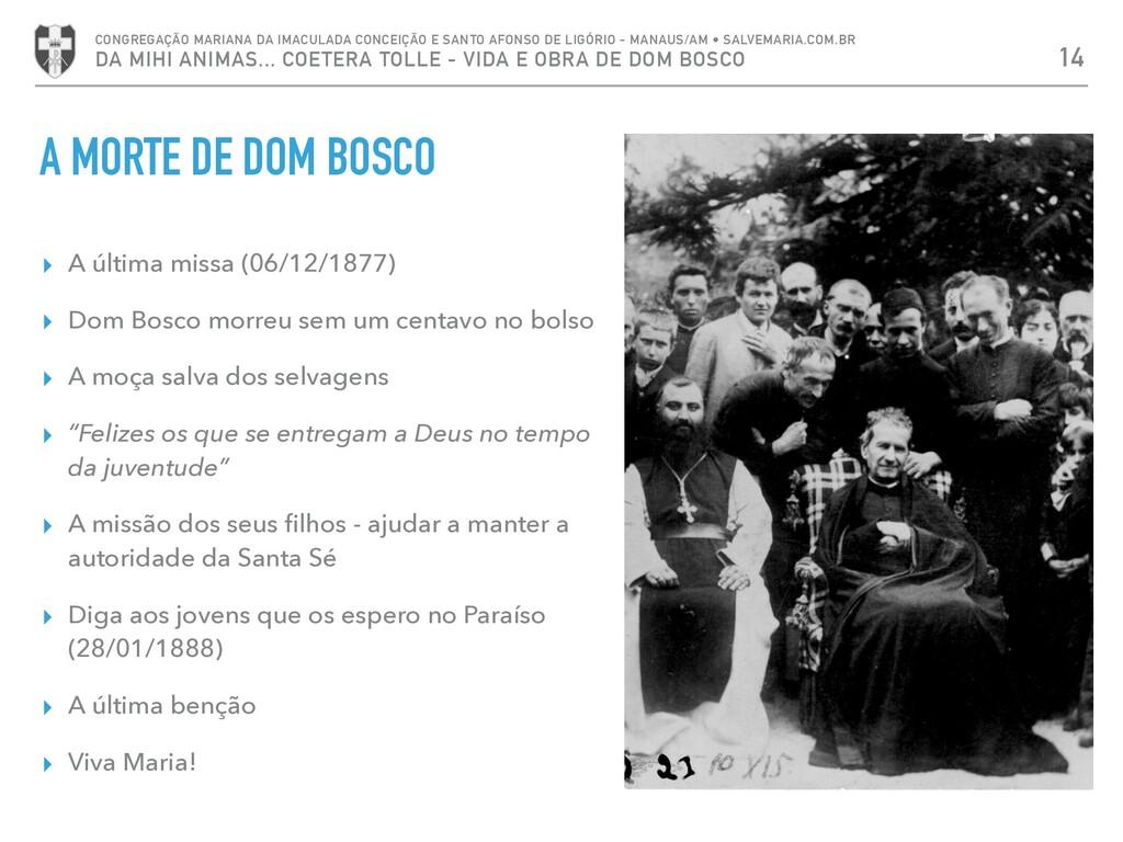 ▸ A última missa (06/12/1877) ▸ Dom Bosco morre...