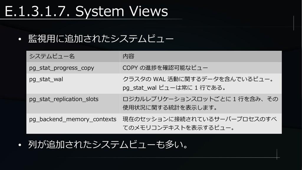 E.1.3.1.7. System Views ● 監視用に追加されたシステムビュー システム...