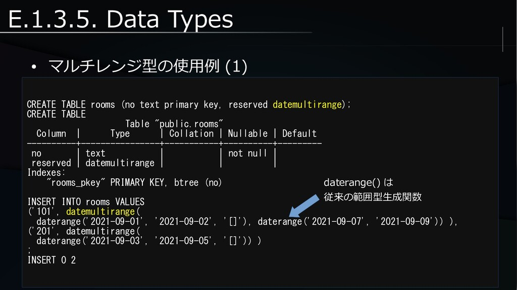 E.1.3.5. Data Types ● マルチレンジ型の使用例 (1) CREATE TA...