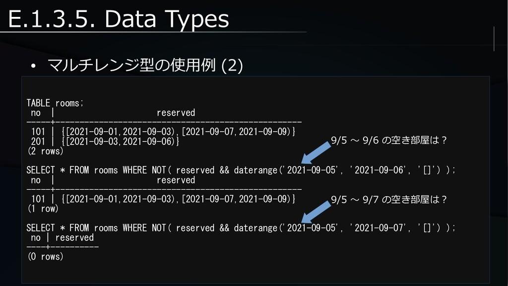 E.1.3.5. Data Types ● マルチレンジ型の使用例 (2) TABLE roo...