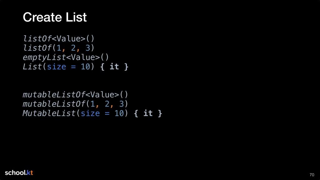 !70 listOf<Value>() listOf(1, 2, 3) emptyList<V...