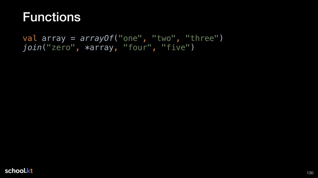 """!130 val array = arrayOf(""""one"""", """"two"""", """"three"""")..."""