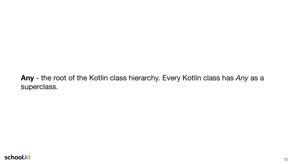 !12 Any - the root of the Kotlin class hierarch...