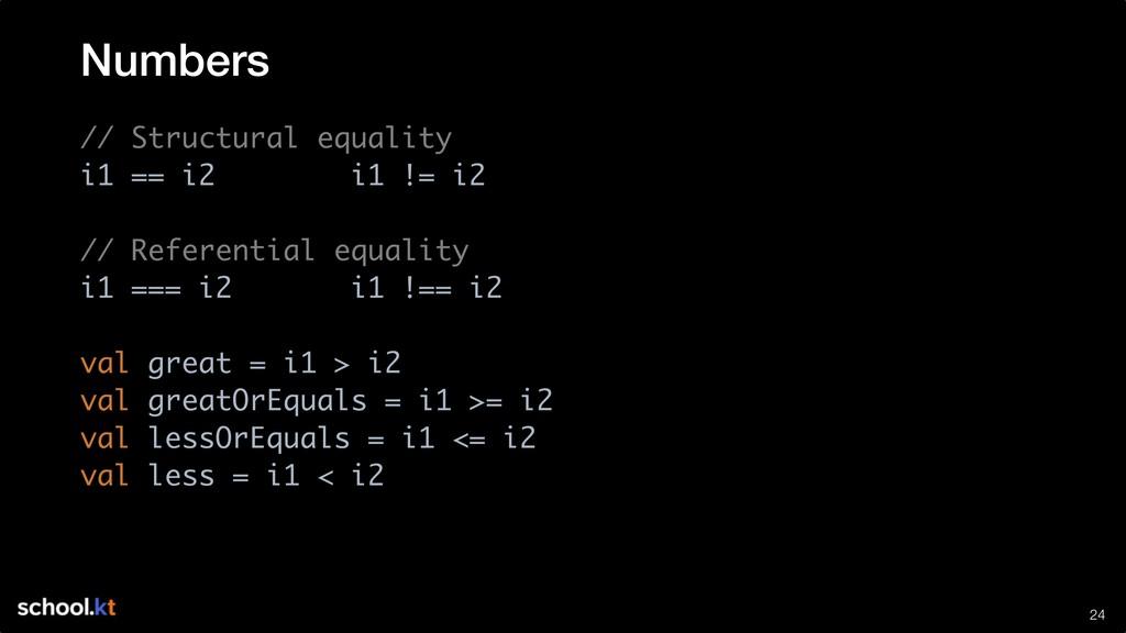 !24 // Structural equality i1 == i2 i1 != i2 //...