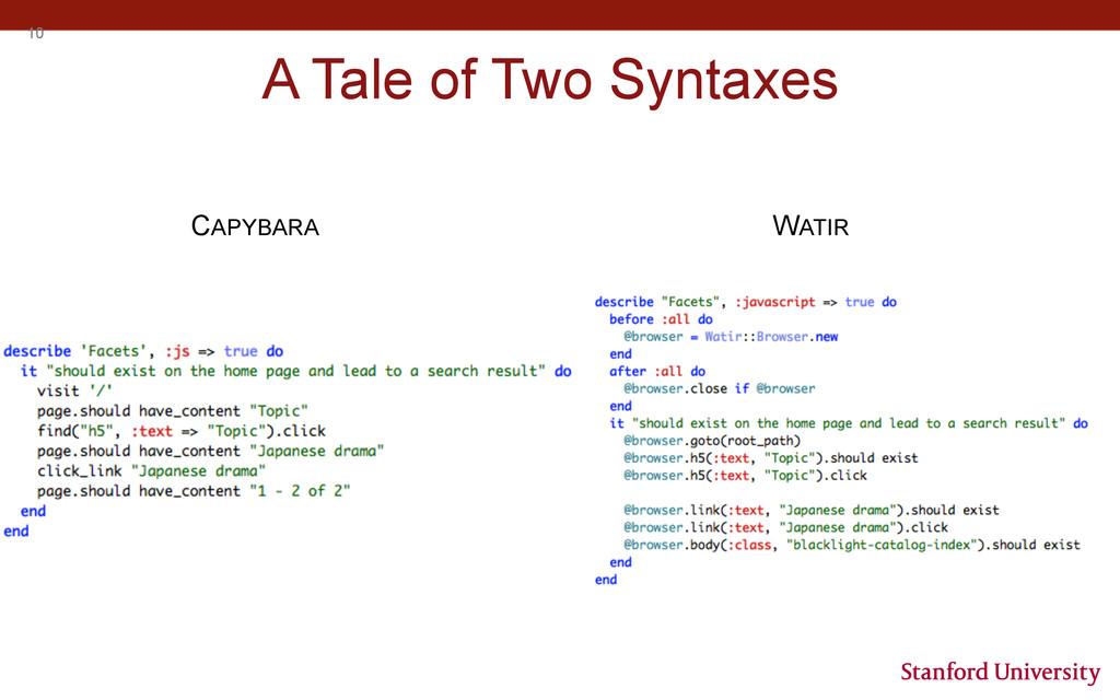 10 A Tale of Two Syntaxes CAPYBARA WATIR