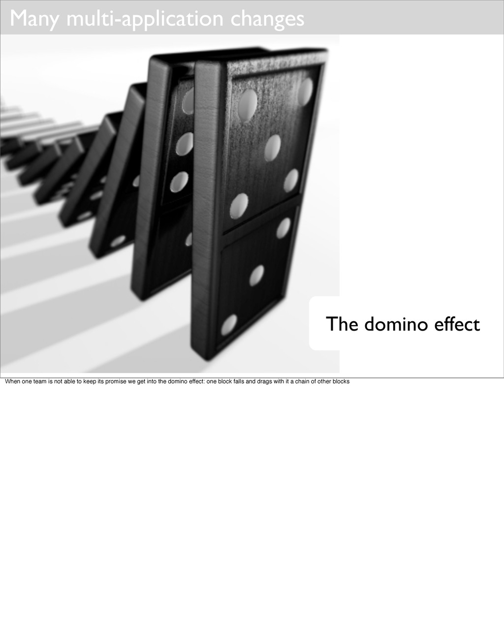 Many multi-application changes The domino effec...
