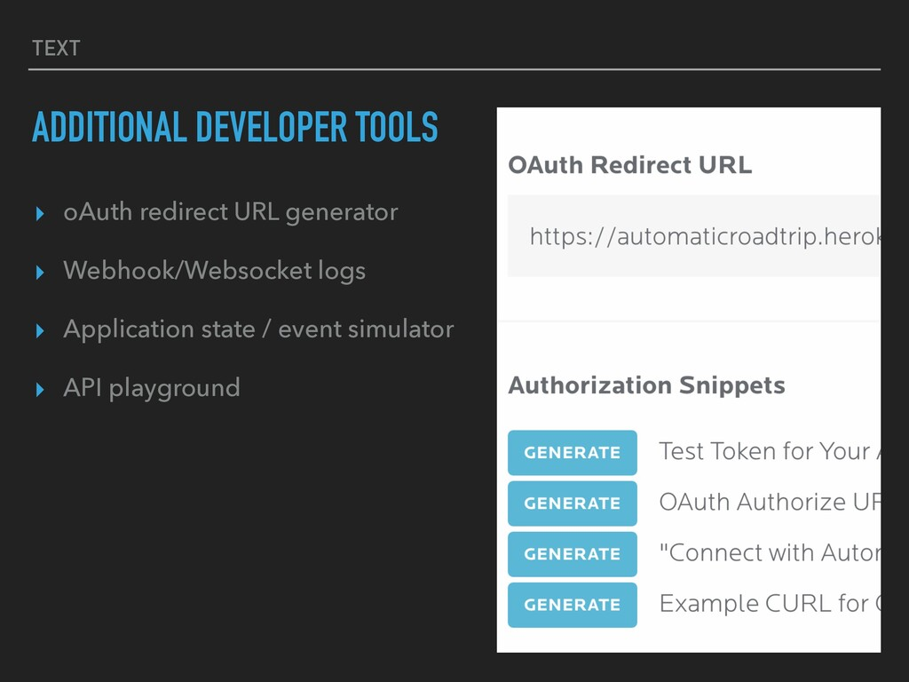 TEXT ADDITIONAL DEVELOPER TOOLS ▸ oAuth redirec...