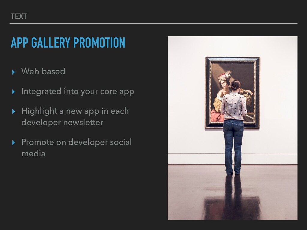 TEXT APP GALLERY PROMOTION ▸ Web based ▸ Integr...