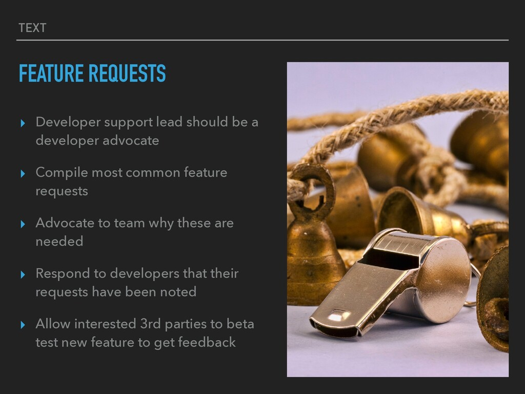 TEXT FEATURE REQUESTS ▸ Developer support lead ...