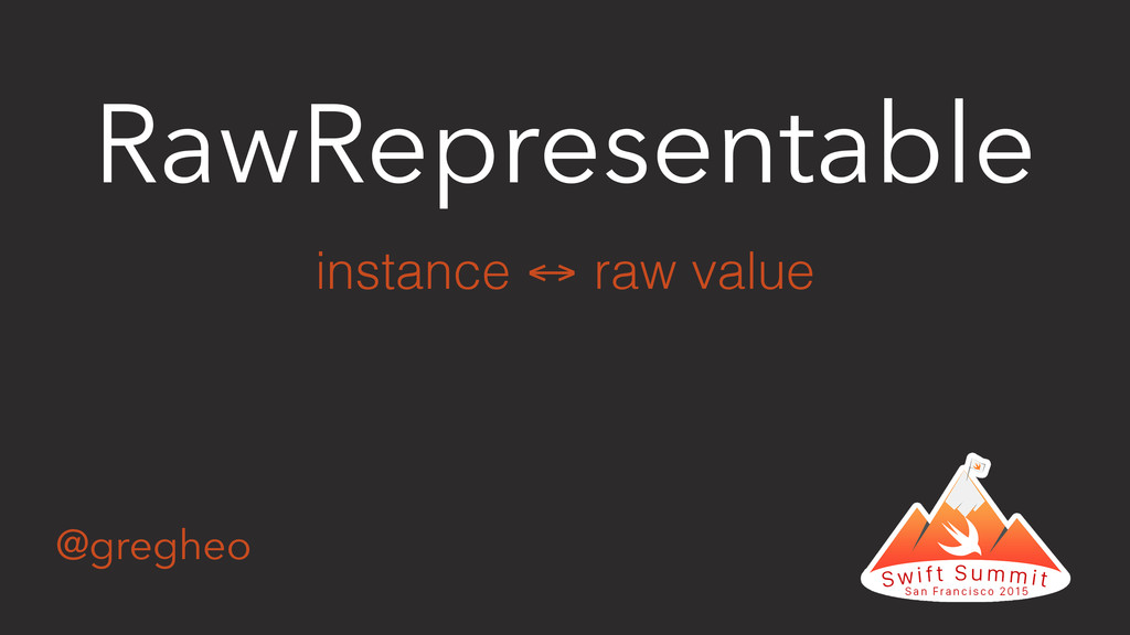 @gregheo RawRepresentable instance ↔ raw value
