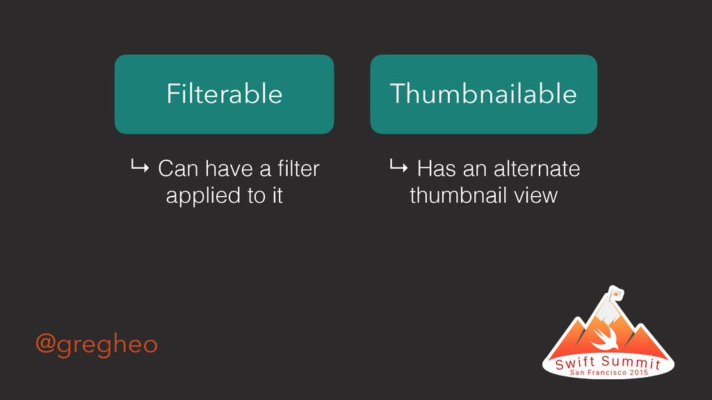 @gregheo Filterable Thumbnailable ↳ Can have a ...