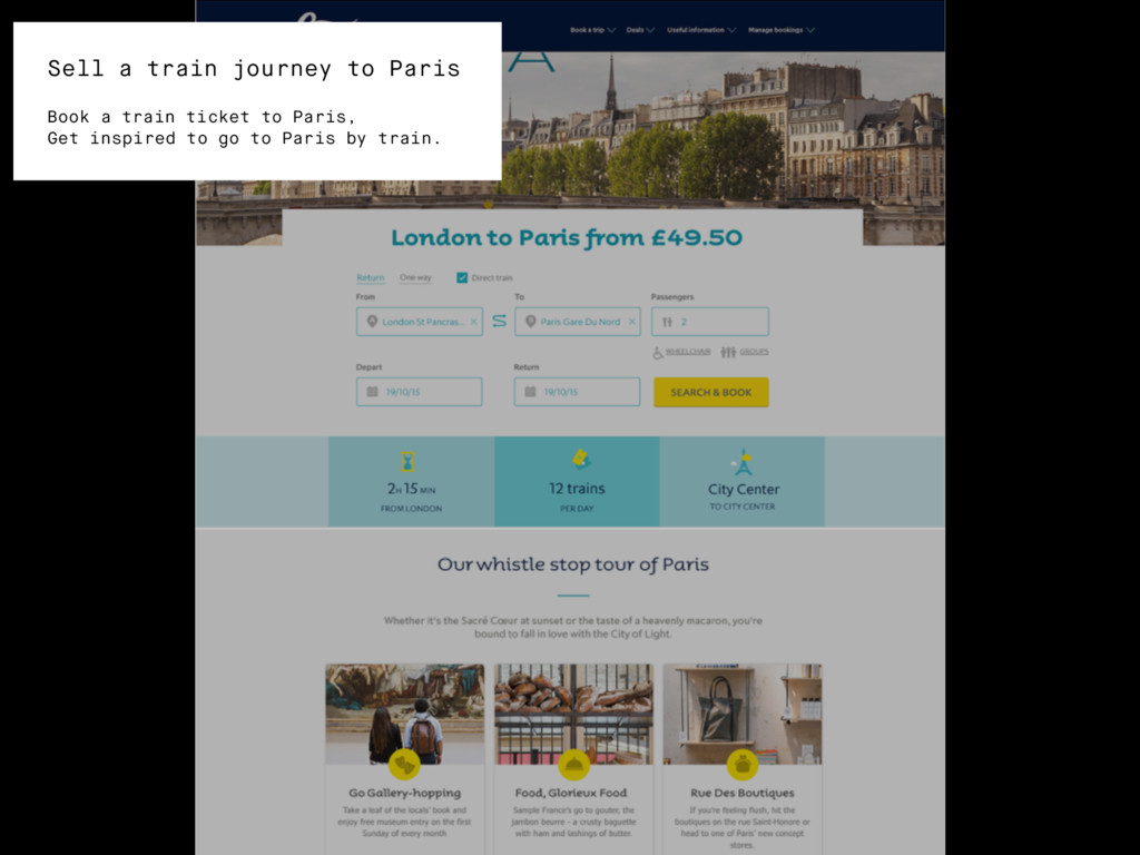 Sell a train journey to Paris Book a train tick...