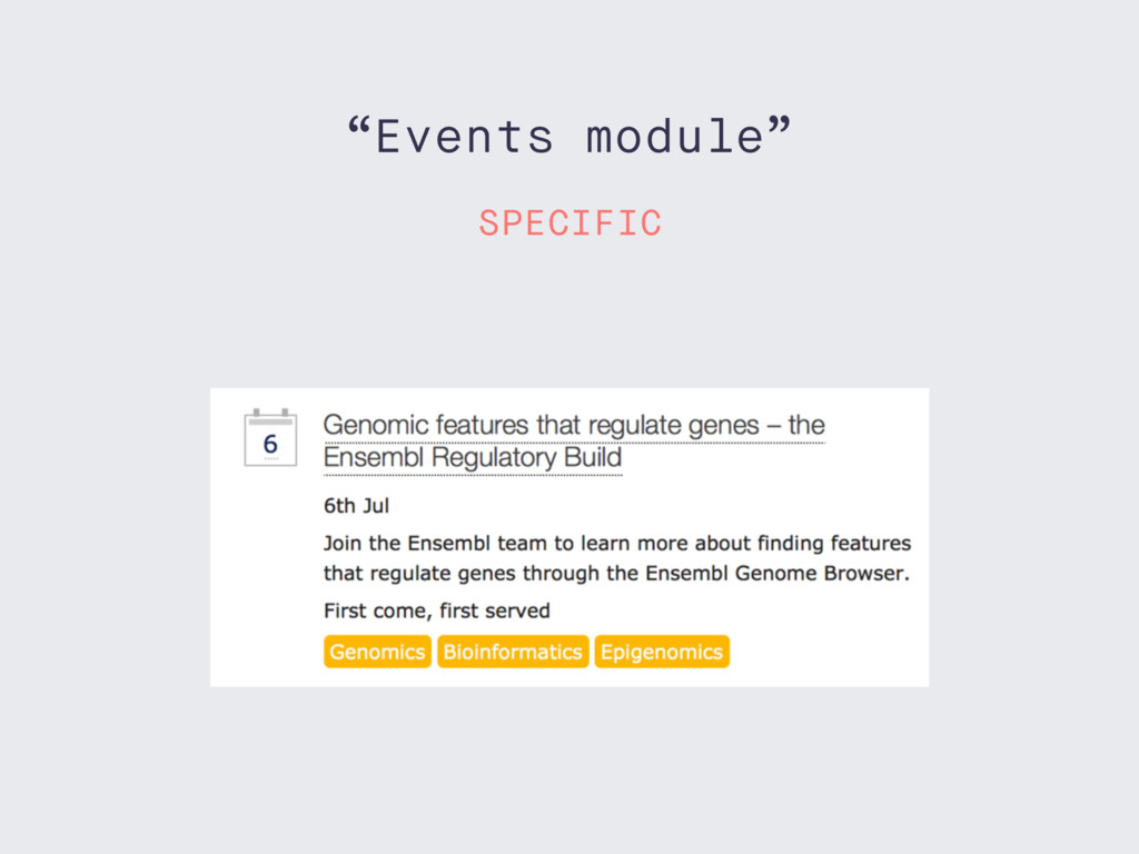"""Events module"" SPECIFIC"