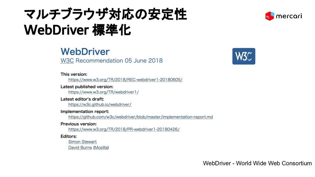 マルチブラウザ対応の安定性 WebDriver 標準化 WebDriver - World ...