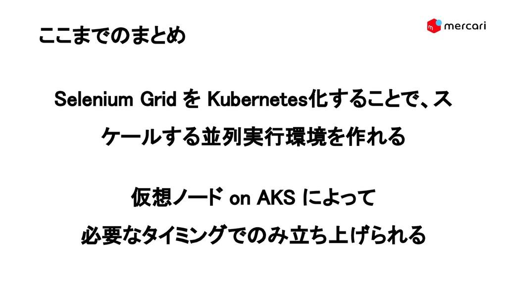 ここまでのまとめ Selenium Grid を Kubernetes化することで、ス ケー...