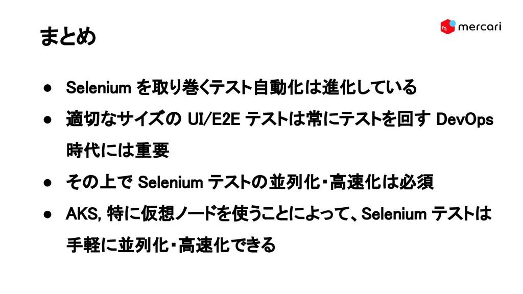 まとめ ● Selenium を取り巻くテスト自動化は進化している ● 適切なサイズの U...