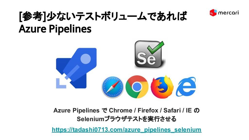 [参考]少ないテストボリュームであれば Azure Pipelines Azure Pipel...
