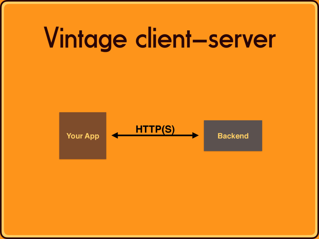 Your App Backend HTTP(S) Vintage client—server