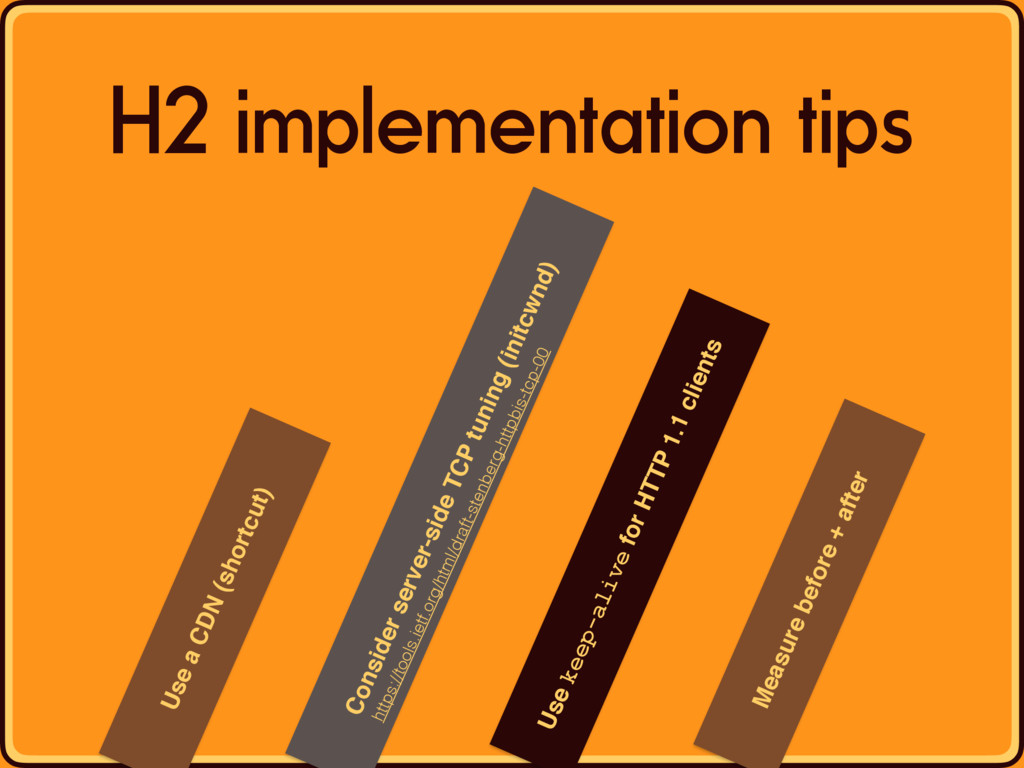 Use a CDN (shortcut) H2 implementation tips Con...