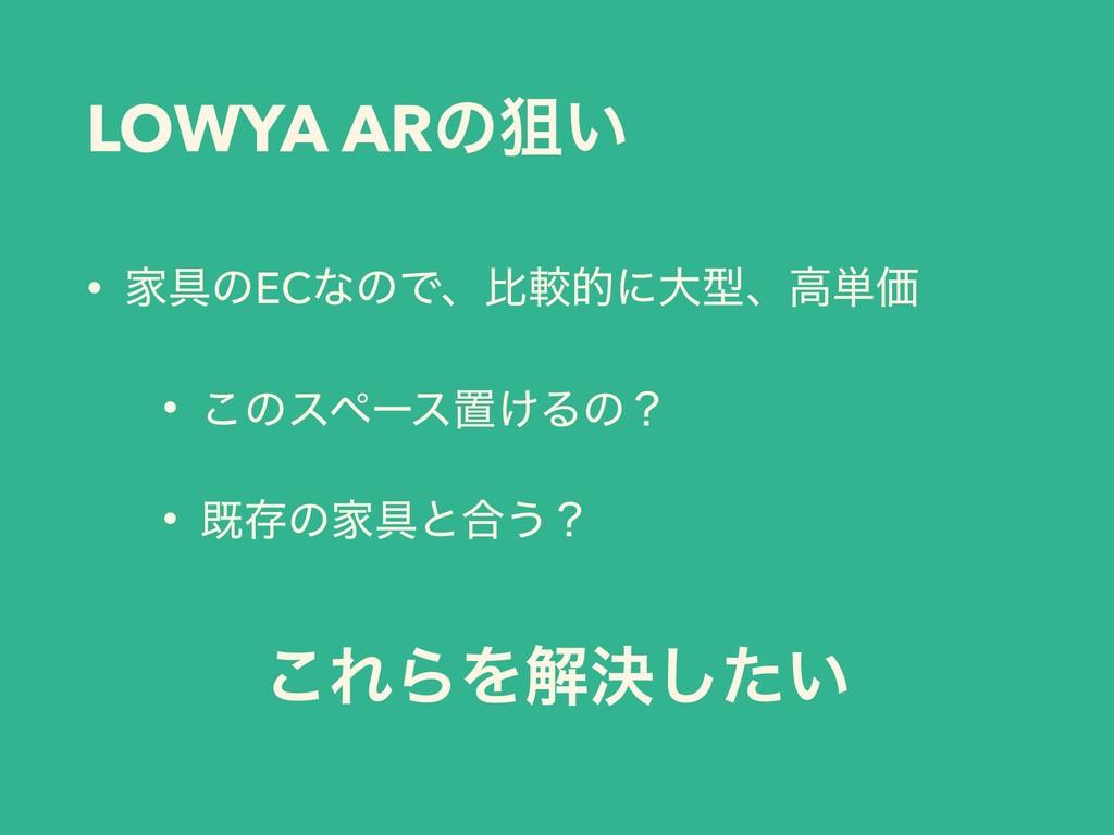 LOWYA ARͷૂ͍ • Ո۩ͷECͳͷͰɺൺֱతʹେܕɺߴ୯Ձ • ͜ͷεϖʔεஔ͚Δͷʁ...