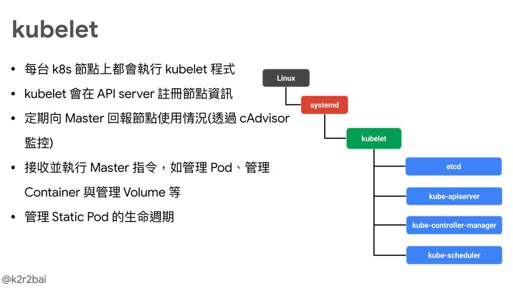 @k2r2bai kubelet • 每台 k8s 節點上都會執⾏行行 kubelet 程式 ...