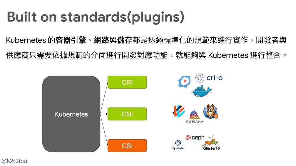 @k2r2bai Kubernetes 的容器引擎、網路路與儲存都是透過標準化的規範來來進⾏行...