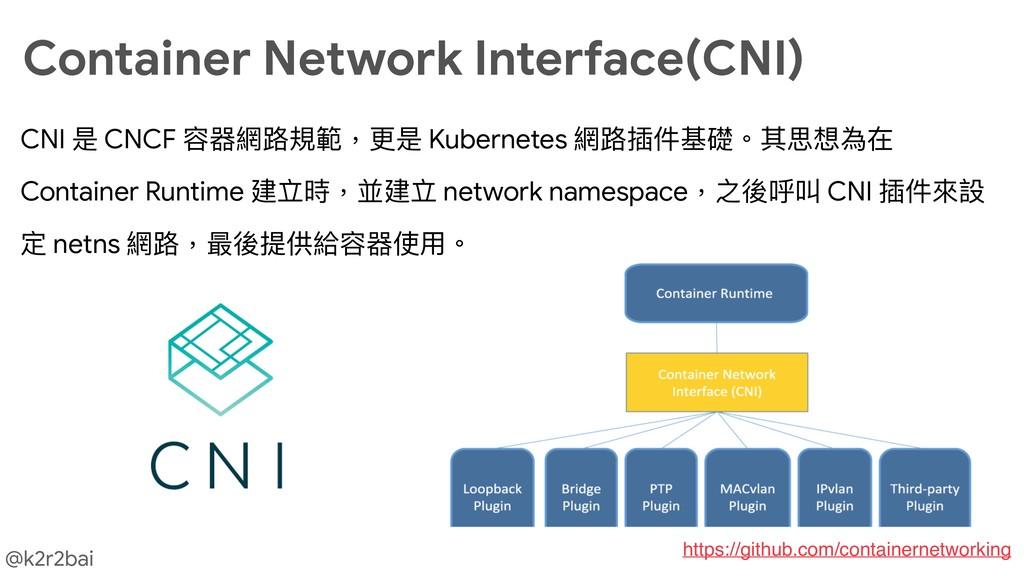 @k2r2bai CNI 是 CNCF 容器網路路規範,更更是 Kubernetes 網路路插...