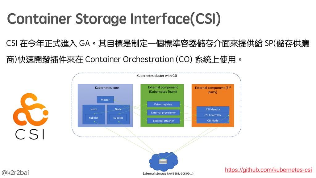 @k2r2bai CSI 在今年正式進入 GA。其目標是制定一個標準容器儲存介面來提供給 SP...