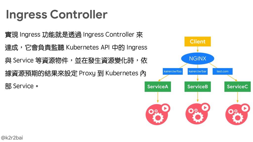 @k2r2bai Ingress Controller 實現 Ingress 功能就是透過 I...