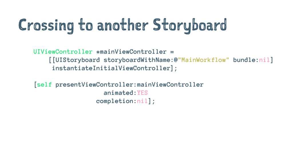 Crossing to another Storyboard UIViewController...