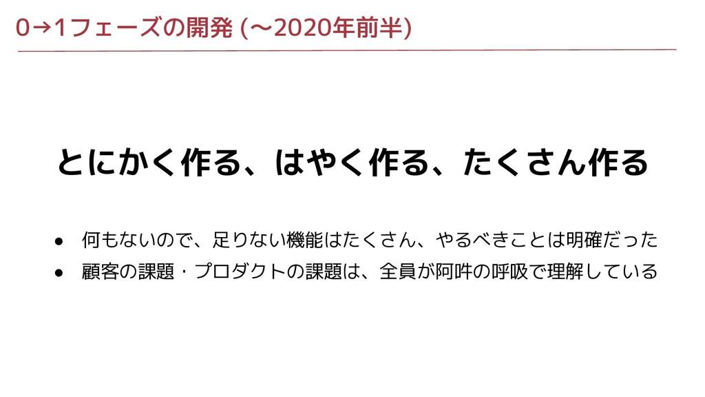 0→1フェーズの開発 (〜2020年前半) とにかく作る、はやく作る、たくさん作る ● 何もな...