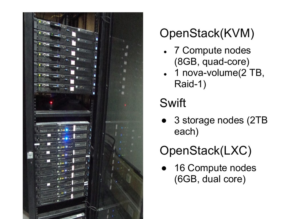 OpenStack(KVM) ● 7 Compute nodes (8GB, quad-cor...
