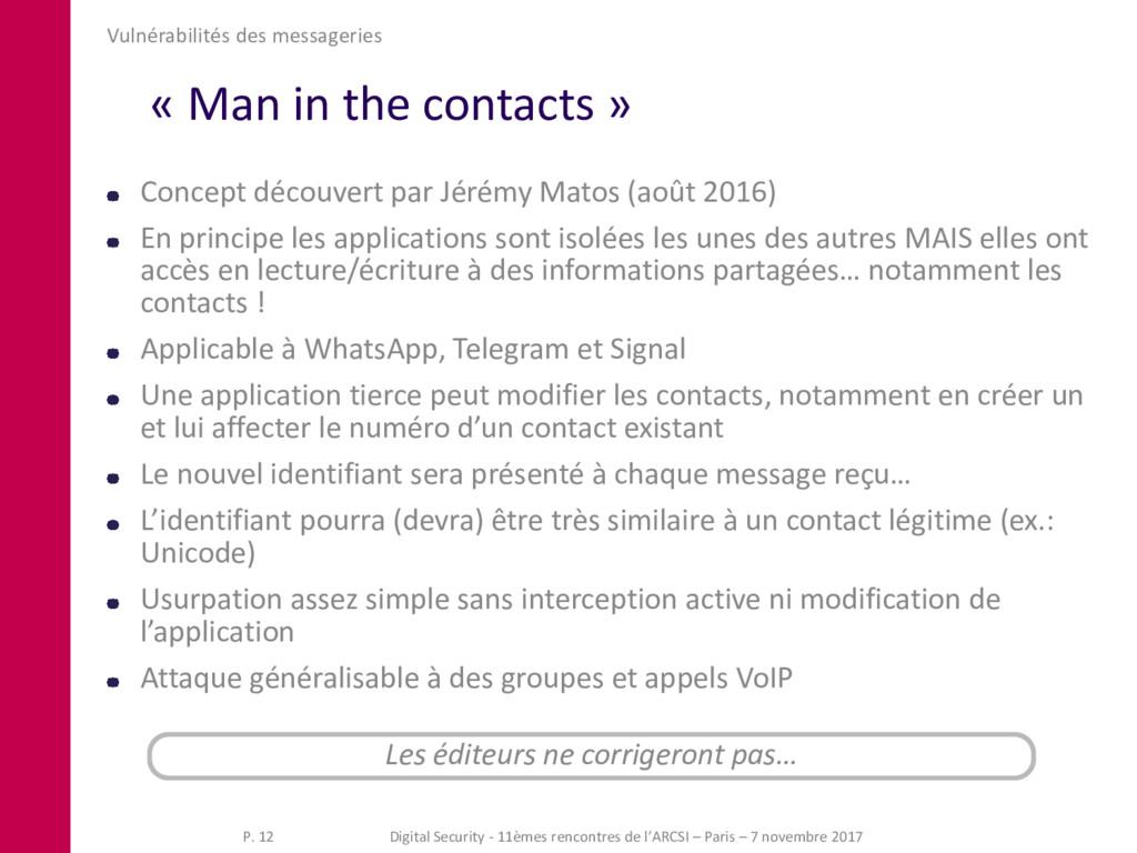 « Man in the contacts » Vulnérabilités des mess...