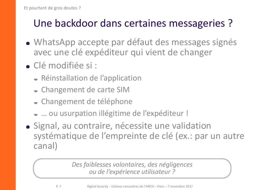 Une backdoor dans certaines messageries ? Whats...