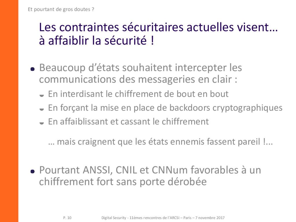 Les contraintes sécuritaires actuelles visent… ...