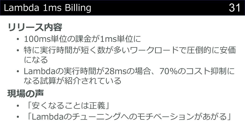 31 Lambda 1ms Billing リリース内容 • 100ms単位の課⾦が1ms単位...