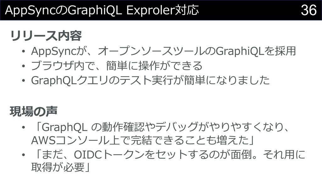 36 AppSyncのGraphiQL Exproler対応 リリース内容 • AppSync...