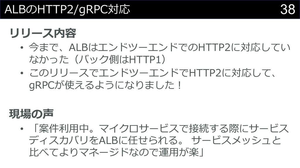 38 ALBのHTTP2/gRPC対応 リリース内容 • 今まで、ALBはエンドツーエンドでの...