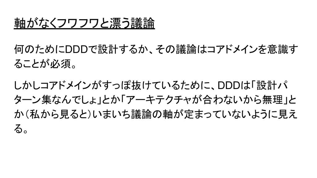 軸がなくフワフワと漂う議論 何のためにDDDで設計するか、その議論はコアドメインを意識す るこ...