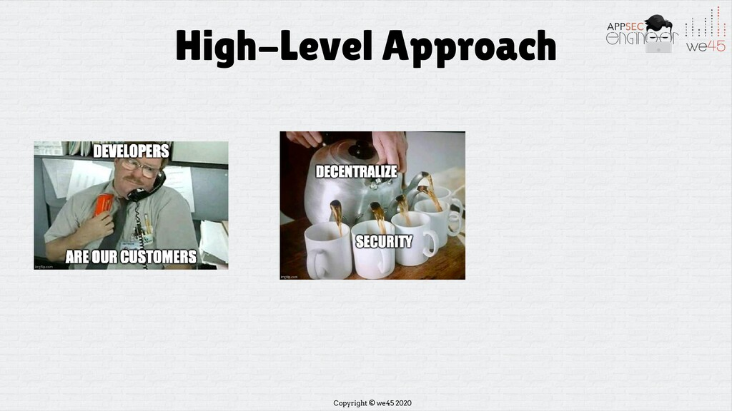 Copyright © we45 2020 High-Level Approach